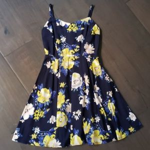 NWT Navy Yellow Floral Dress XS